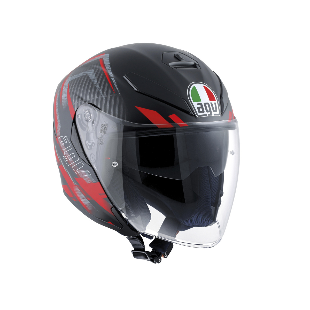 prilba AGV K-5 JET URBAN HUNTER MATT BLACK/RED
