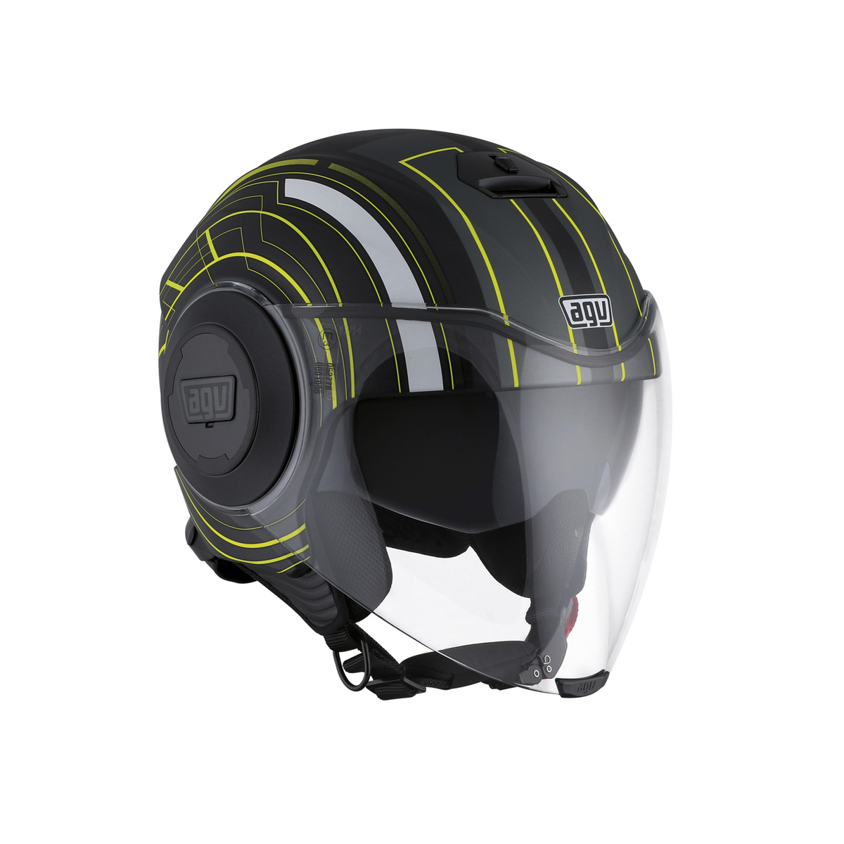 prilba AGV FLUID CHICAGO MATT BLACK/YELLOW