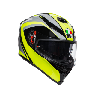 prilba AGV K5 S TYPHOON BLACK/GREY/YELLOW FLUO