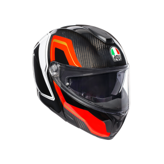 prilba AGV SPORTMODULAR - SHARP CARBON/RED/WHITE
