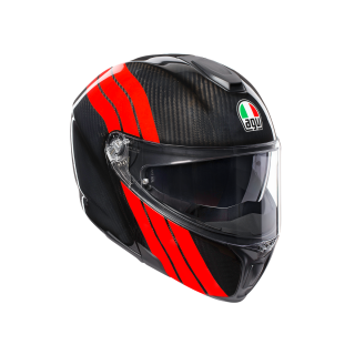 prilba AGV SPORTMODULAR - STRIPES CARBON/RED